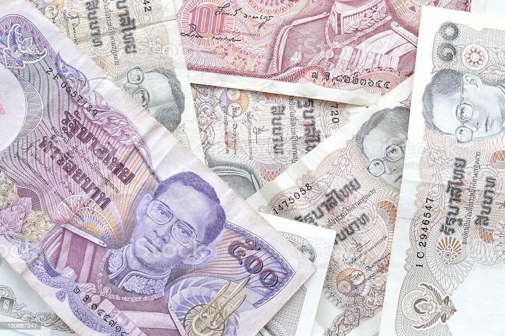 retro thai banknotes royalty-free stock photo
