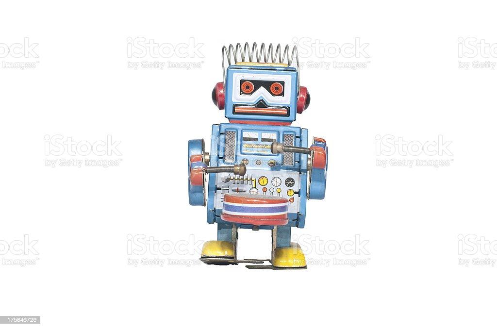 retro tin robot toy isolated stock photo