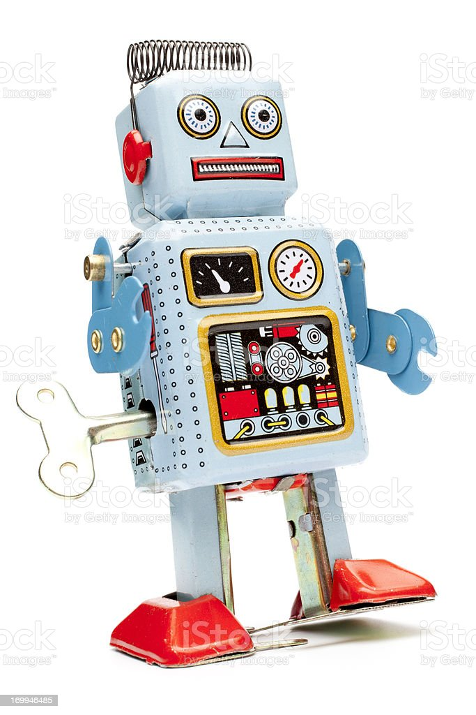 Retro tin toy robot stock photo