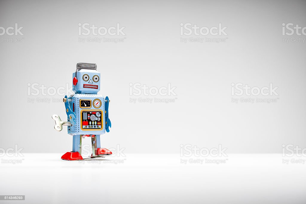 Retro tin toy robot stock photo