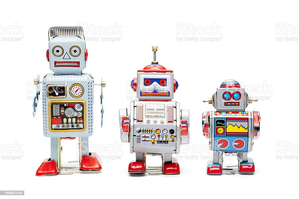 Retro tin toy robots stock photo