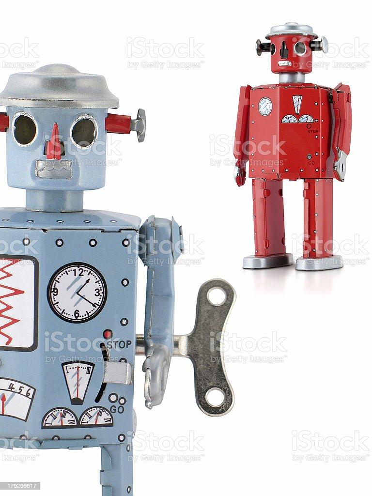 Retro Tin Toy Robots stock photo