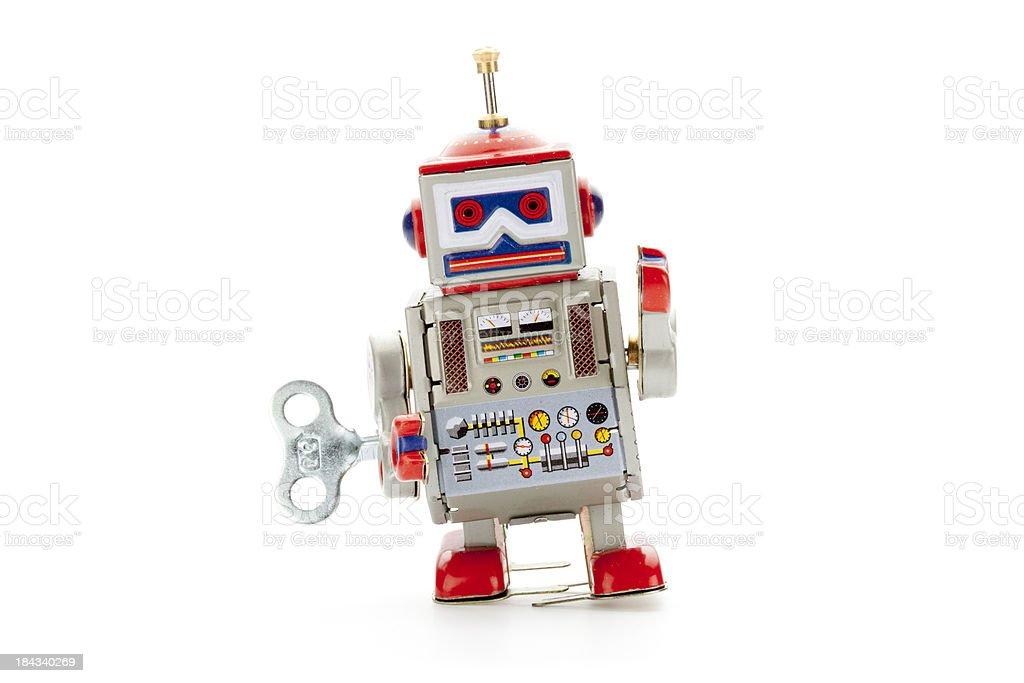 Retro tin toy walker robot stock photo