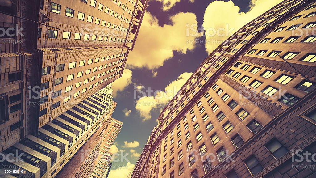Retro toned skyscrapers in Manhattan NYC, USA stock photo