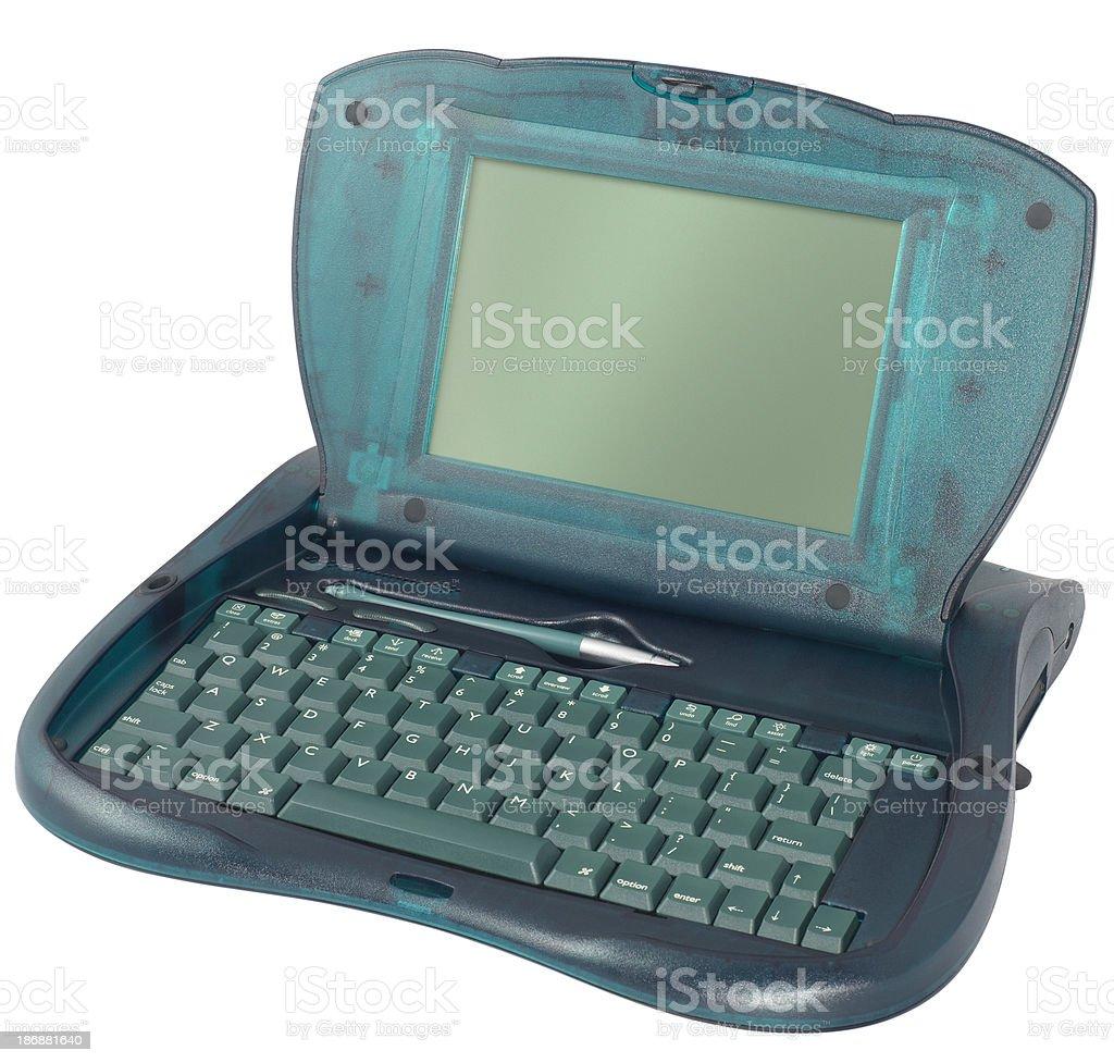 Retro touch screen laptop with stylus. stock photo