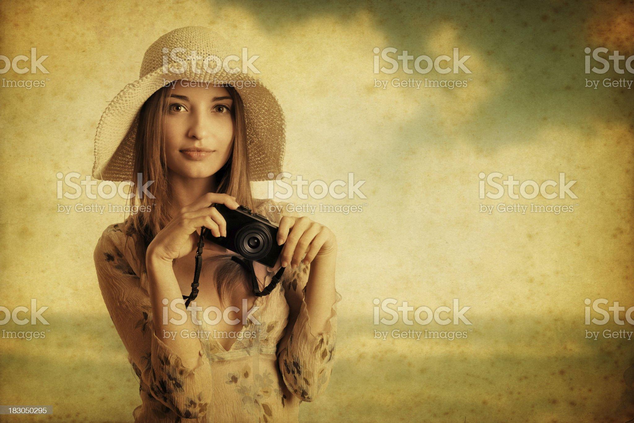 retro tourist girl portrait royalty-free stock photo