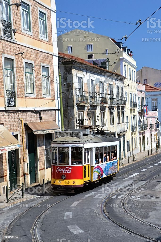 Retro tram in Lisbon stock photo