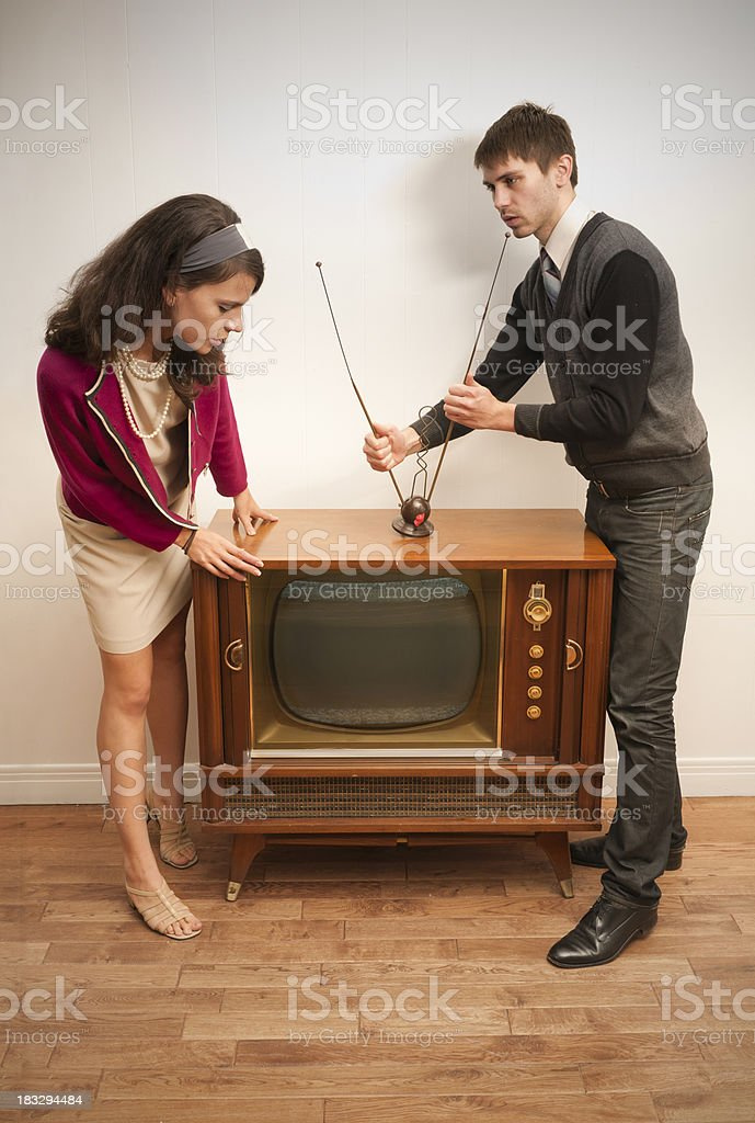 Retro Trying to get the TV working stock photo