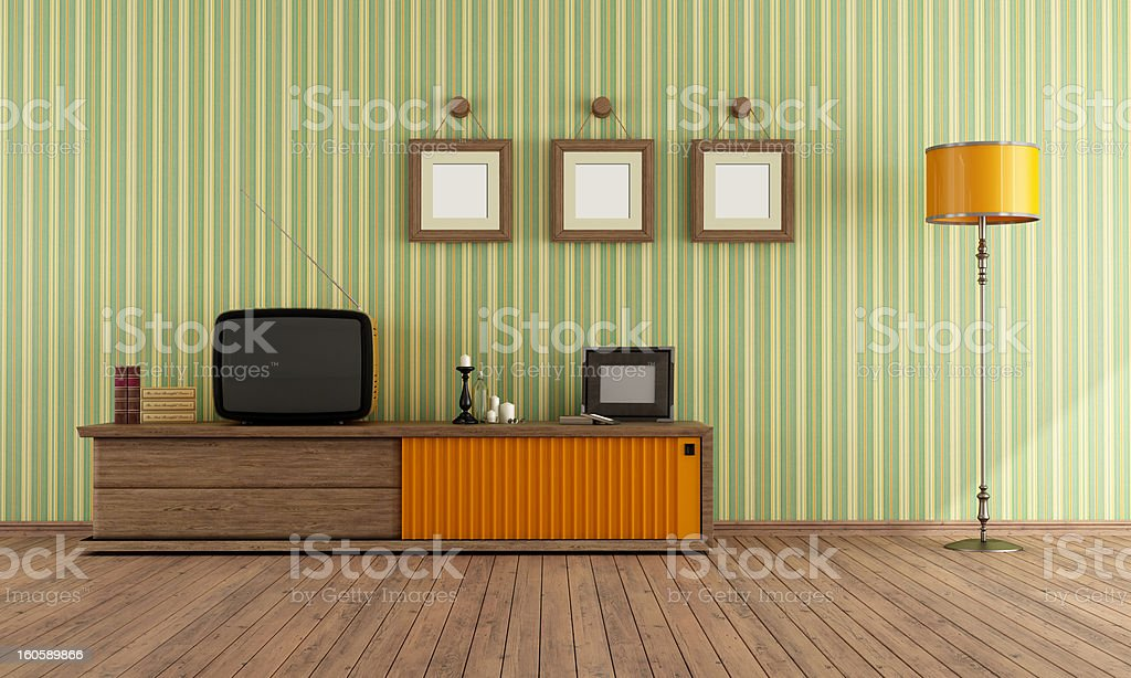 Retro  TV in a living room stock photo