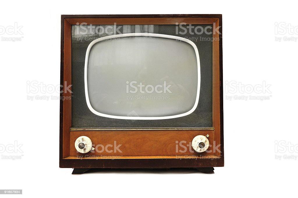 Retro Tv isolated on white royalty-free stock photo