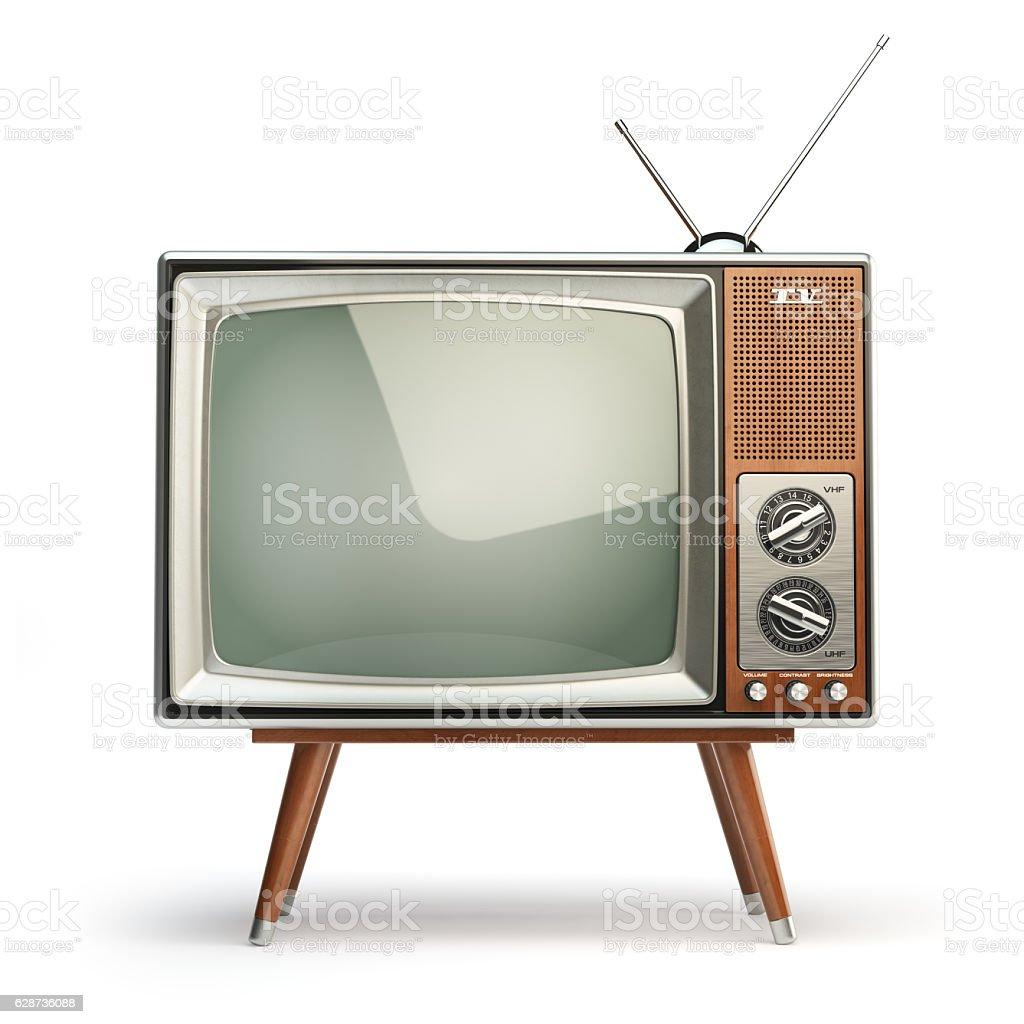 Retro TV set isolated on white background. Communication, media stock photo