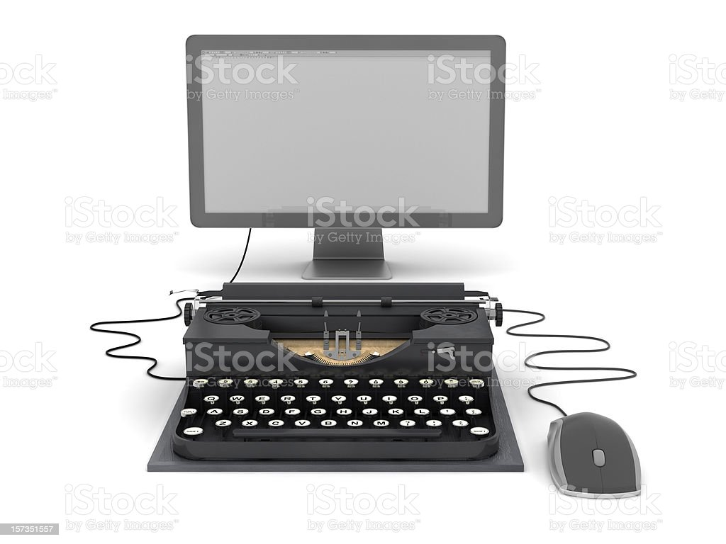 Retro typewriter, computer monitor and mouse royalty-free stock photo