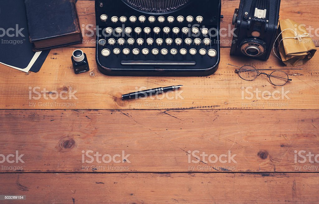 retro typewriter hero header stock photo