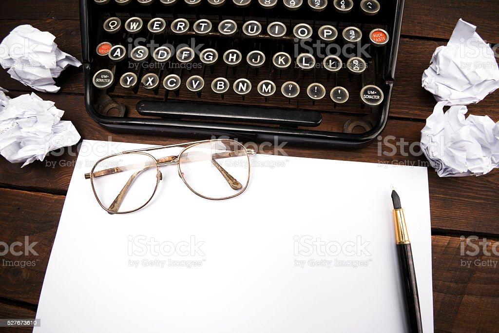 retro typewriter hero header stock photo