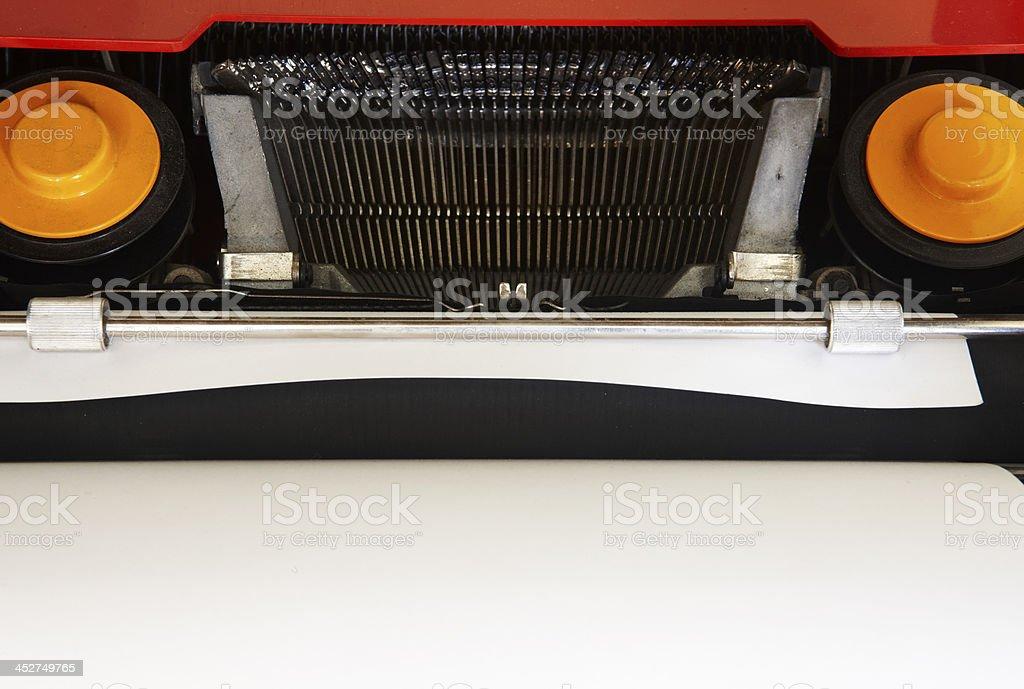 Retro typewriter keys and ink tape royalty-free stock photo