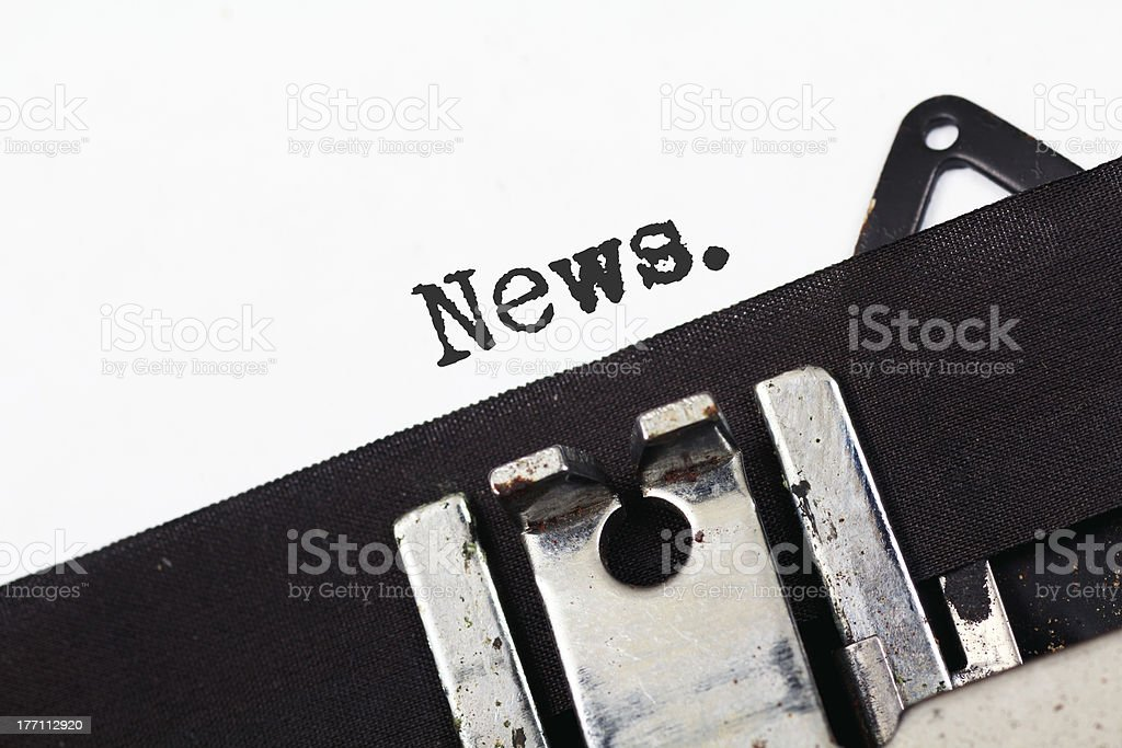 Retro typewriter text news royalty-free stock photo
