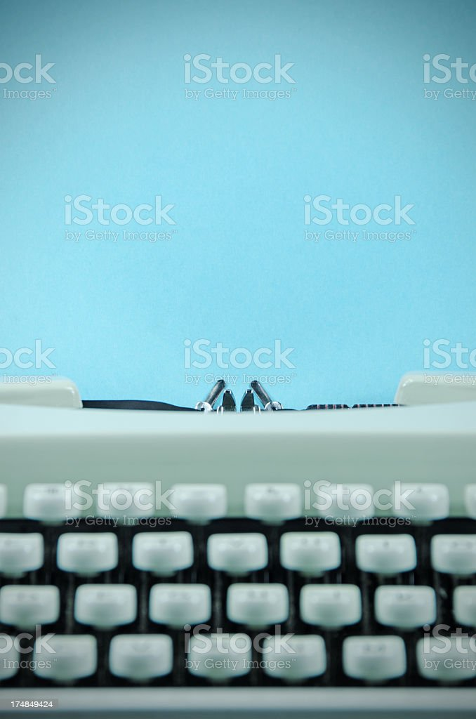Retro Typewriter With Blue  Paper royalty-free stock photo
