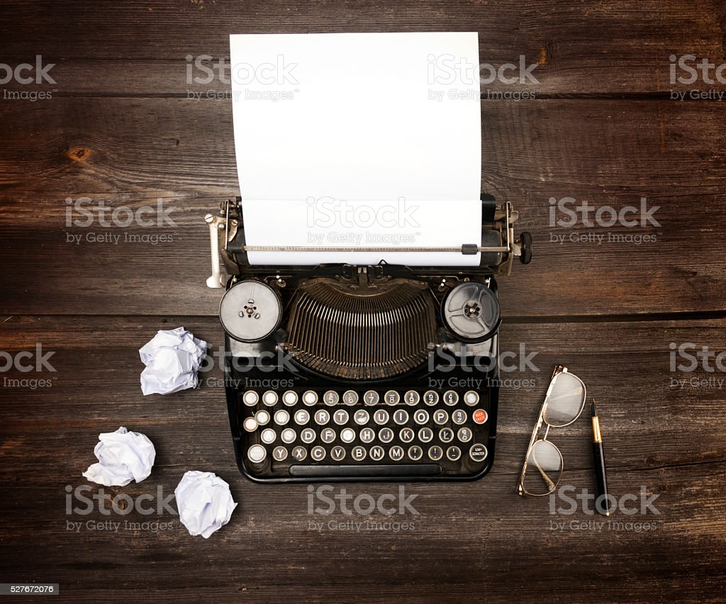 Retro typewriter writers desk stock photo
