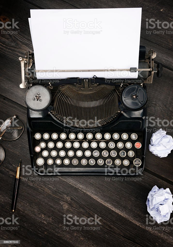 Retro typewriter writers desk stock photo