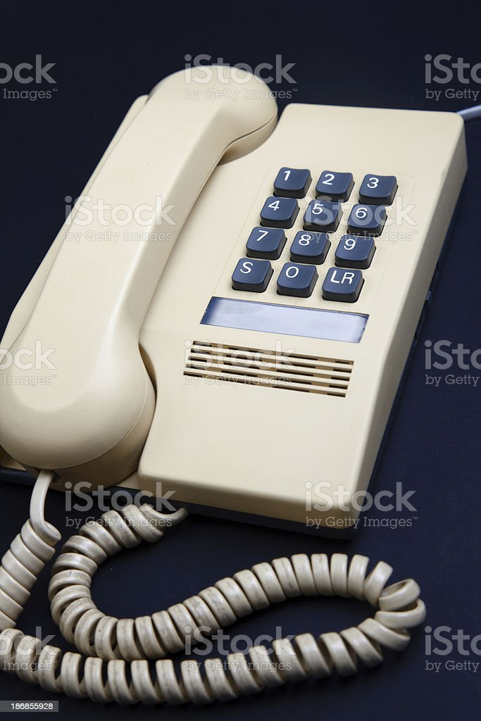 Retro UK push button telephone circa 1988 stock photo