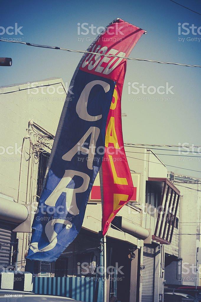 Retro Used Car Dealer Sale Sign stock photo