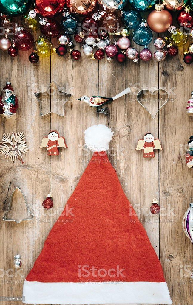 retro vibrant christmas decoration on wooden rustic background stock photo