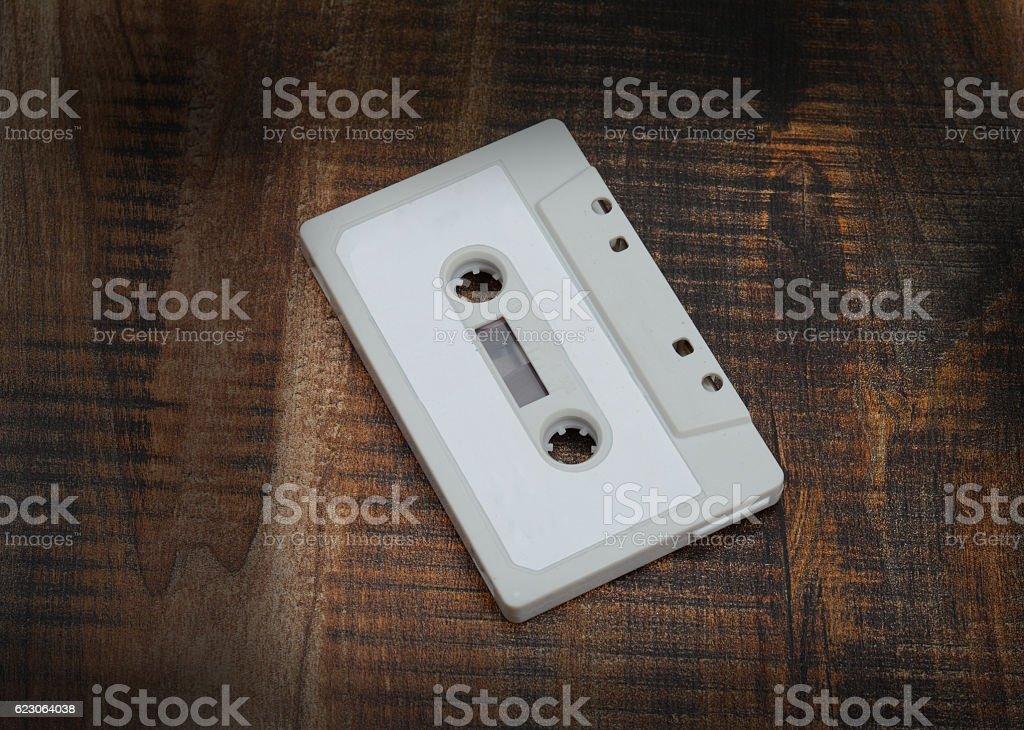 Retro Vintage Audio Cassette on Pink Background stock photo