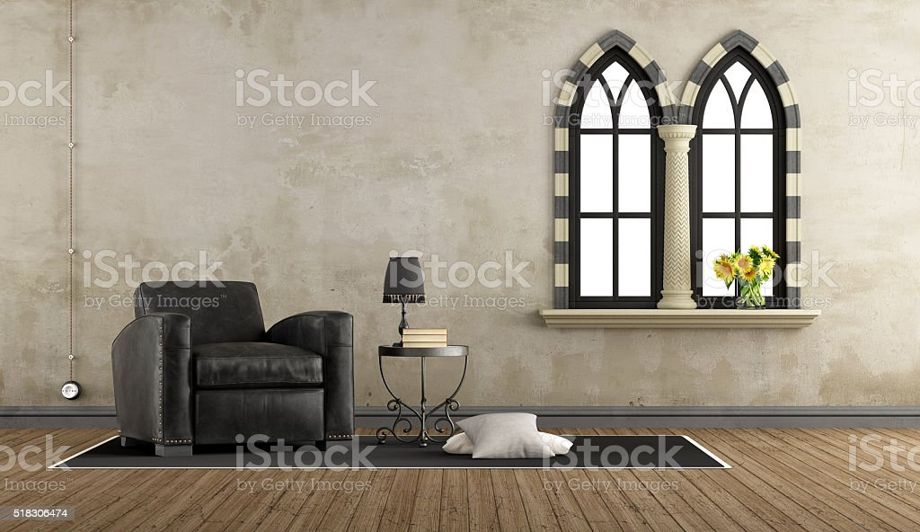 Retro vintage living room with leather armchair stock photo