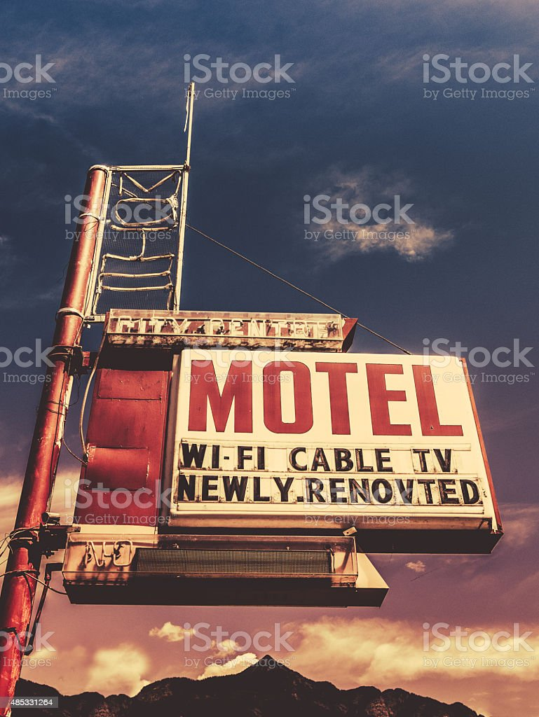 Retro Vintage Motel Sign stock photo