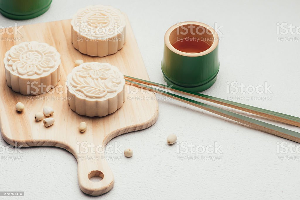 Retro vintage style Chinese mid autumn festival foods stock photo