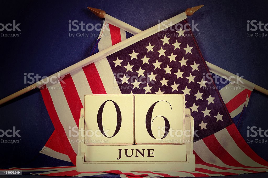Retro vintage style D-Day calendar and USA and British flags stock photo