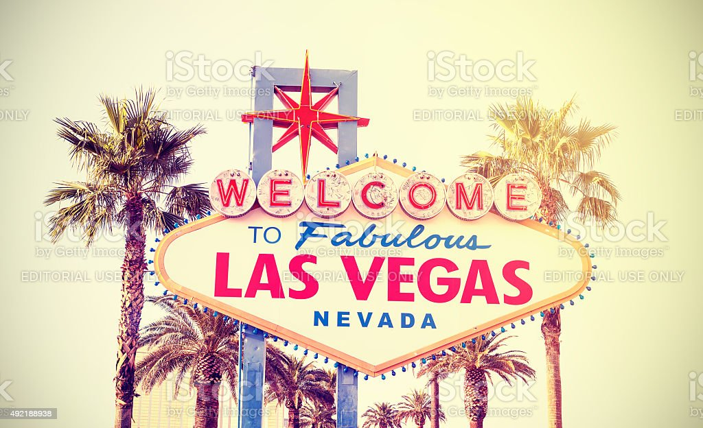 Retro vintage toned Welcome To Las Vegas Sign, USA. stock photo
