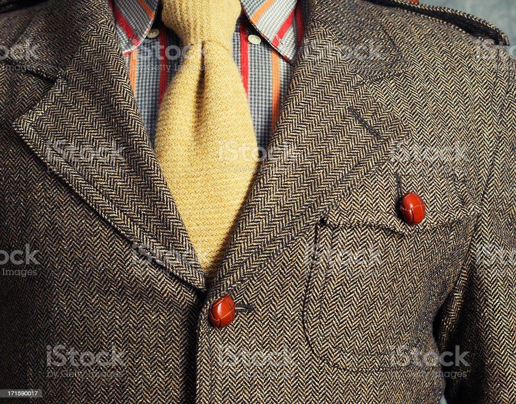 Retro vintage twill jacket with woolen necktie stock photo