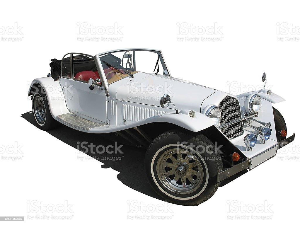 retro vintage white dream wedding luxury car isolated royalty-free stock photo