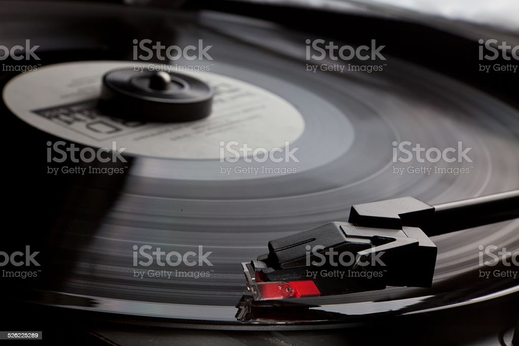 Retro vinyl music audio player stock photo