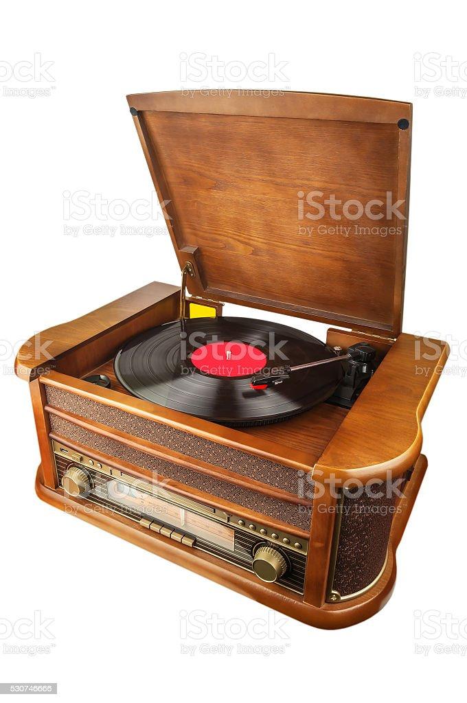 retro vinyl player stock photo