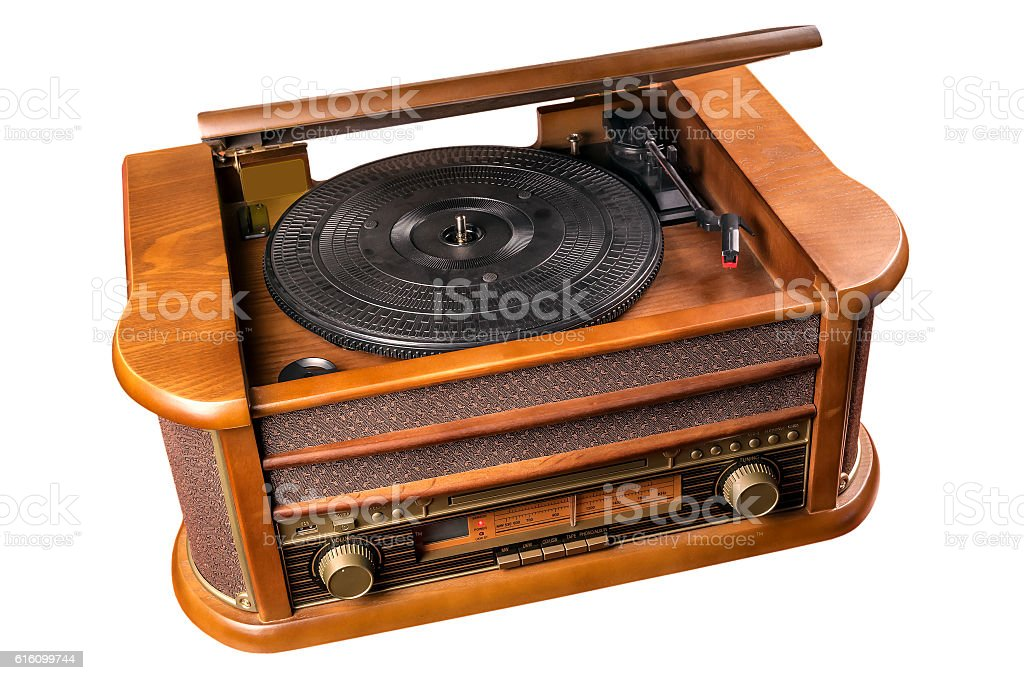 retro vinyl player stock photo