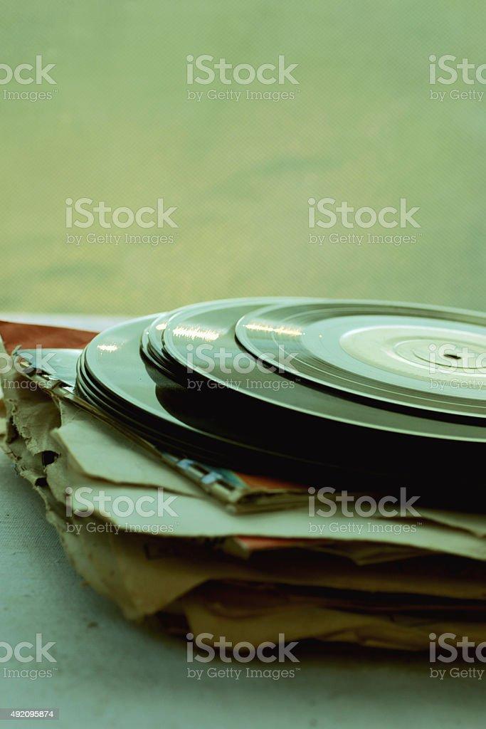 retro vinyl records stock photo