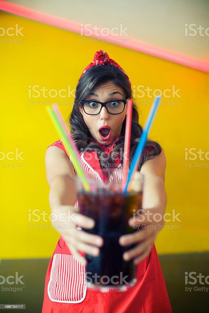 Retro Waitress royalty-free stock photo