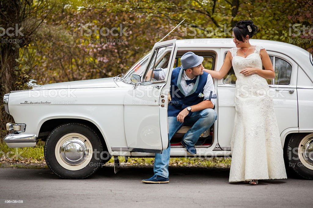 retro wedding car stock photo