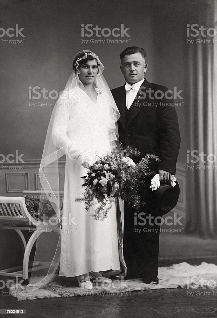 German Wedding  - Just married couple in the thirties stock photo