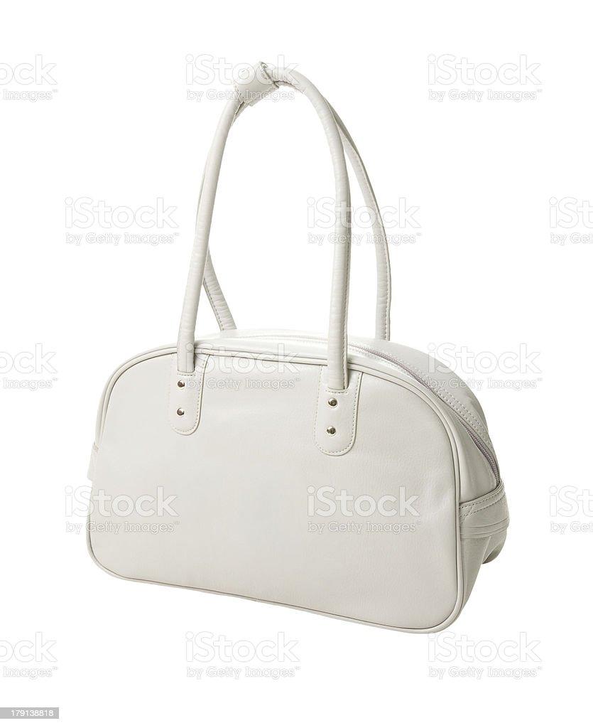 Retro white leather sport bag royalty-free stock photo