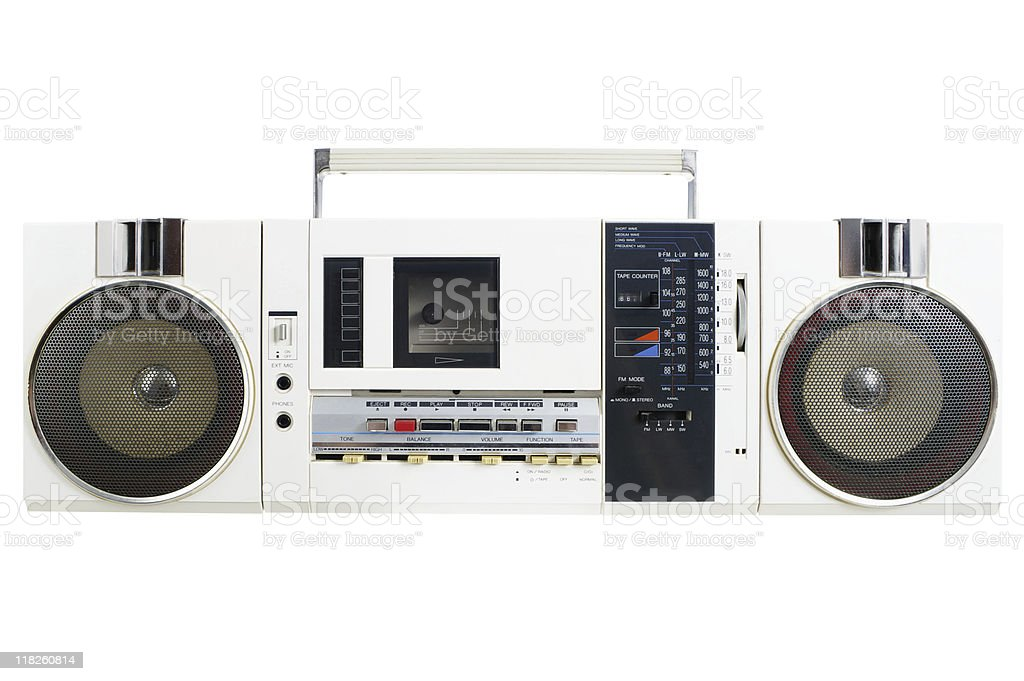 Retro White Radio Cassette Machine stock photo