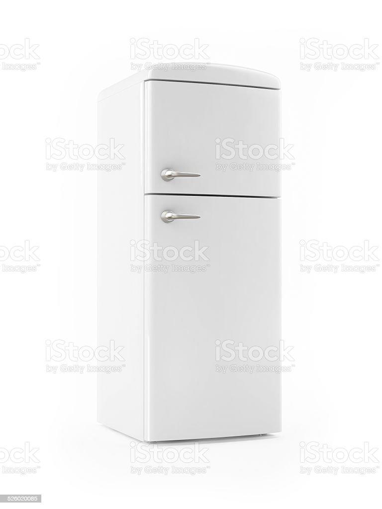 Retro White Refrigerator on White background stock photo