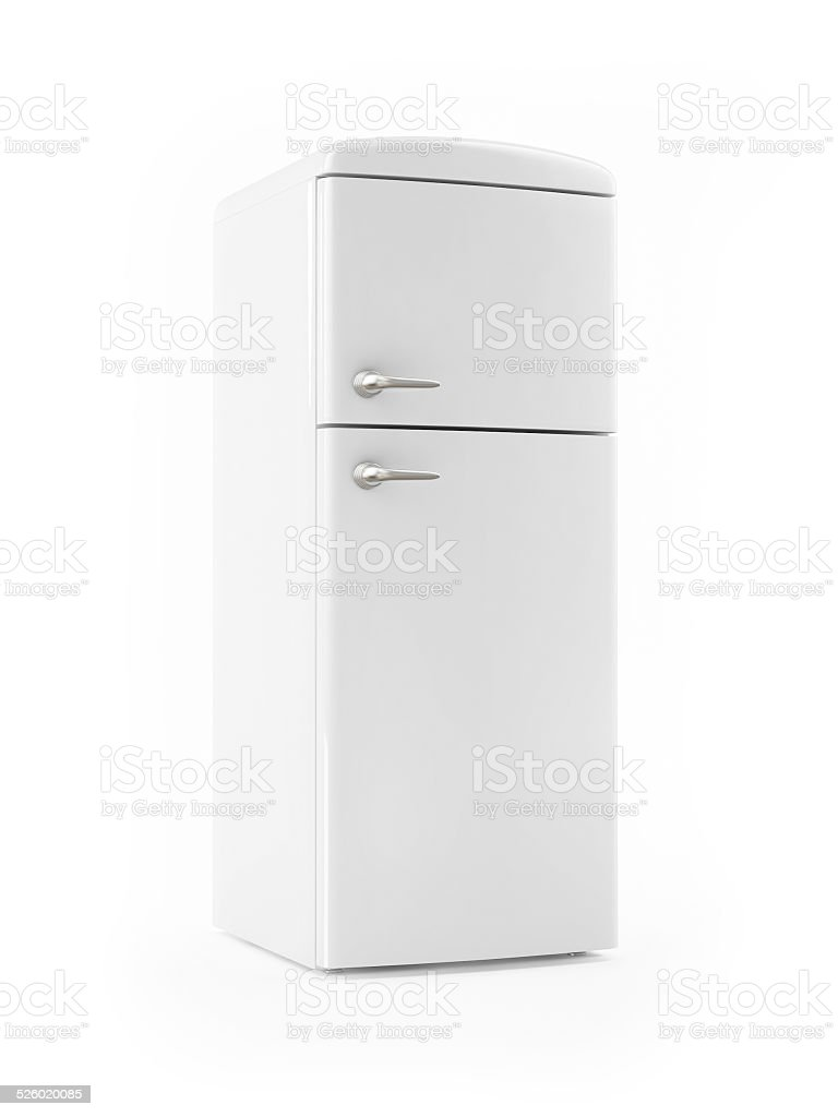 Retro White Refrigerator on White background stock photo