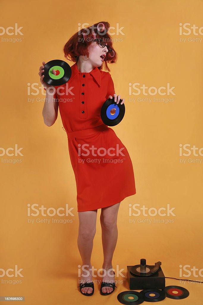 Retro Woman: A Dateless Saturday Night royalty-free stock photo