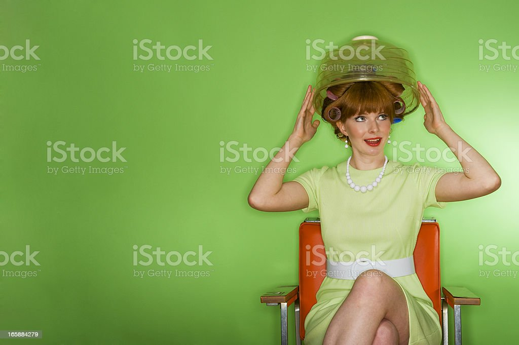 Retro woman at the Hairdresser stock photo