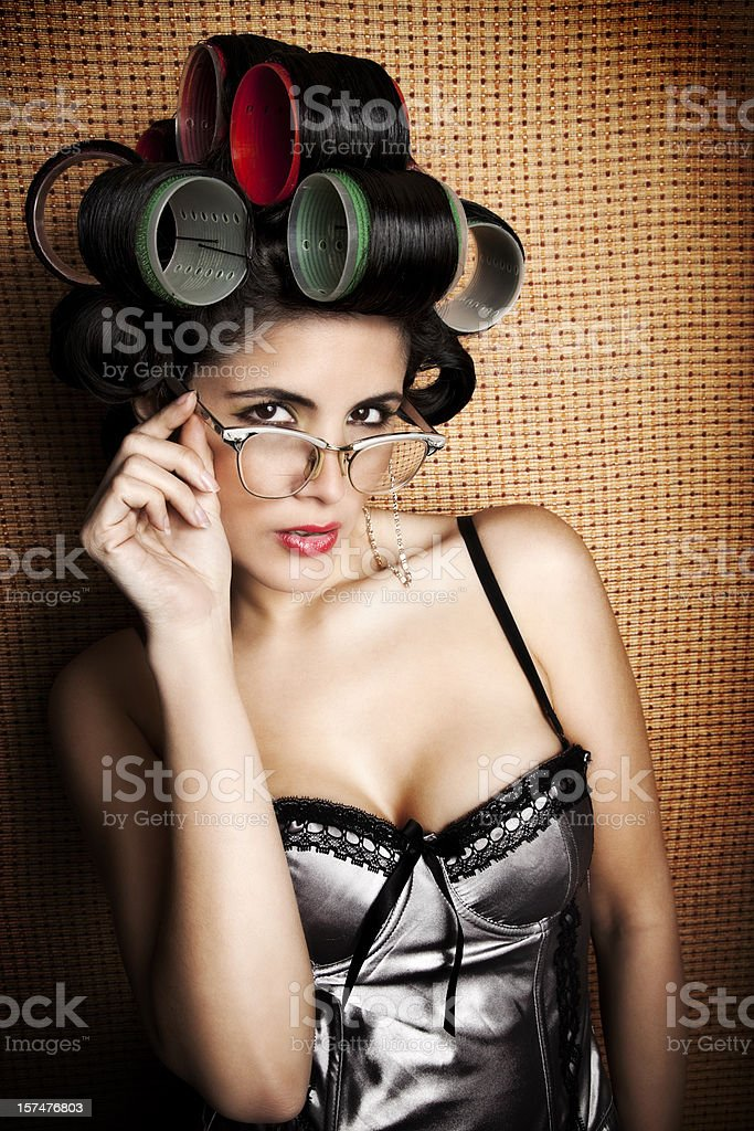 Retro Woman in Curlers and Bifocals royalty-free stock photo