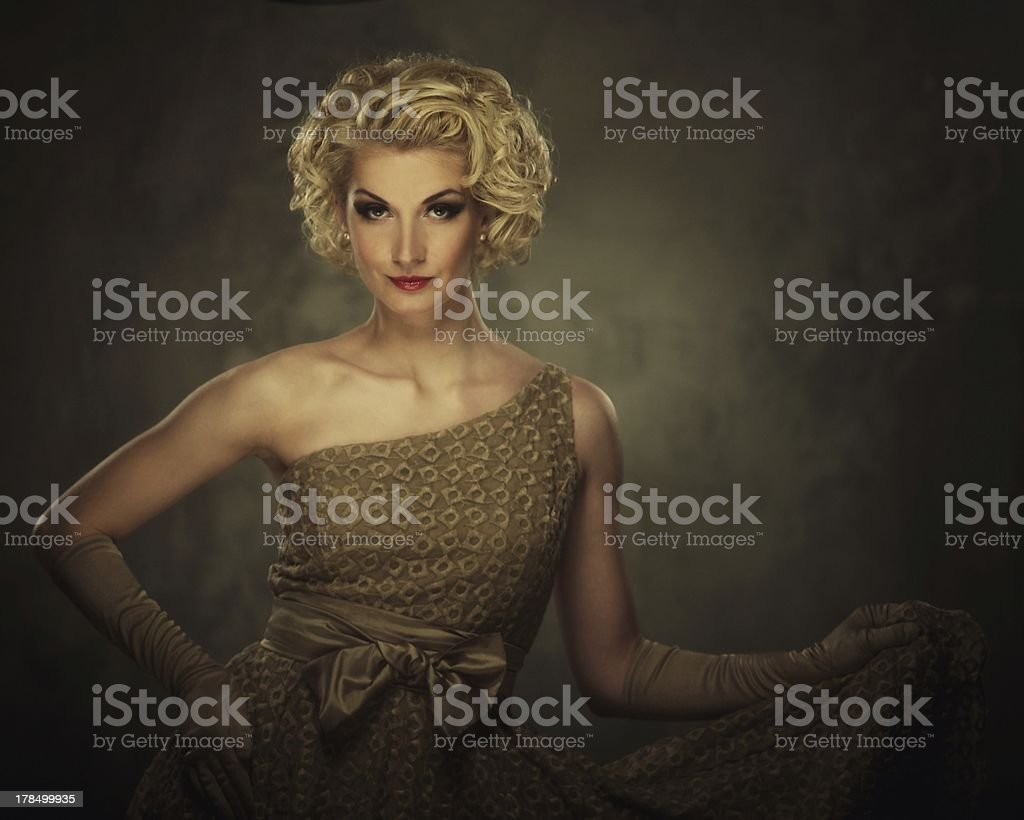Retro woman in dress royalty-free stock photo