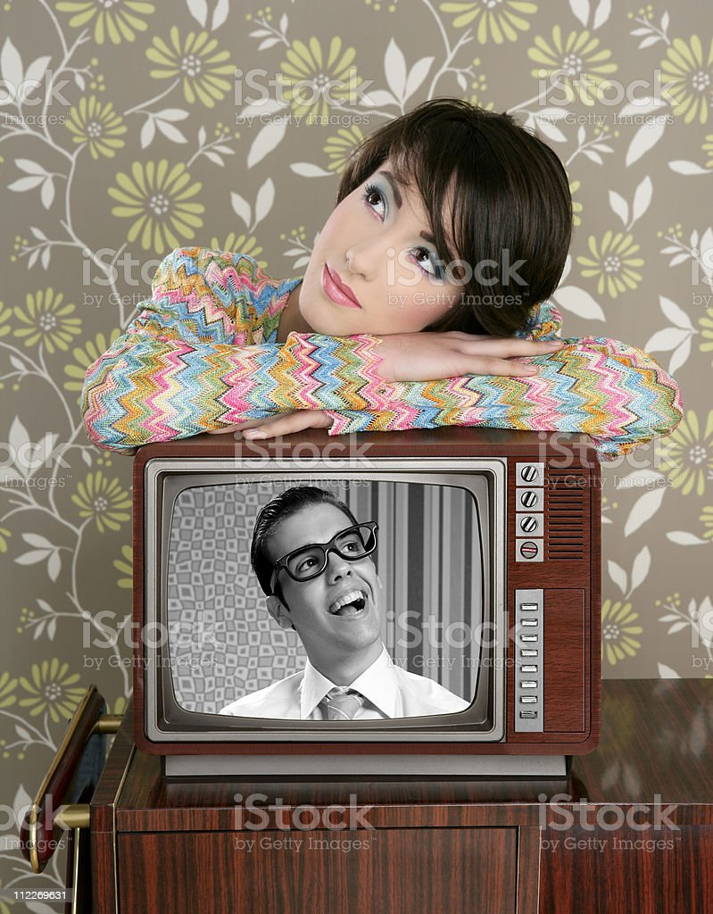retro woman in love with tv nerd hero royalty-free stock photo